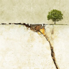 Surreal landscape with single tree