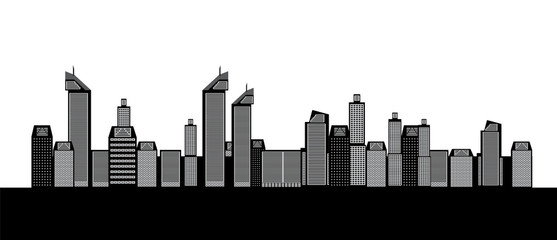 Isolated Buildings of the City, Sea, Boat. Vector Illustration