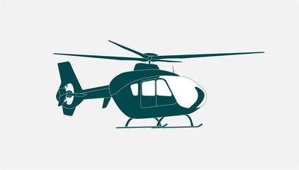 Helicopter in Flight. Vector Illustration.