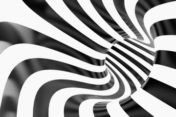 Tube or swirl making black and white background in 3D