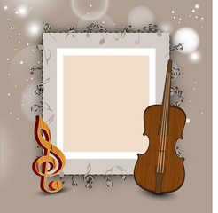 Musical notes, instrument and blank frame.