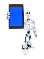 Robot showing touchscreen phone. Isolated. Contains clipping path