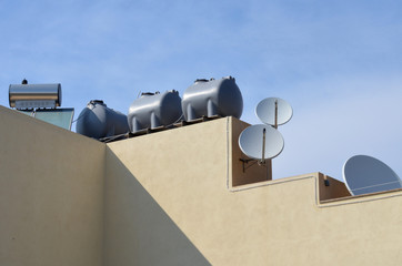 solar collector and water storage on private home, Malta, Europe