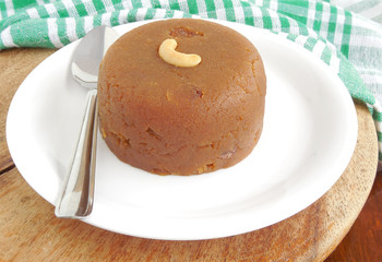Wheat halwa, a delicious and traditional Indian sweet dish.