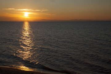 Sunset, light path on water, Baikal lake