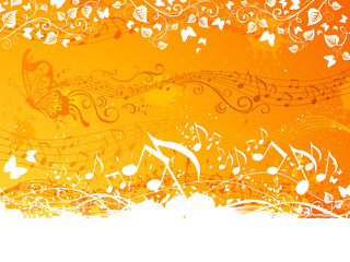 Orange music background.