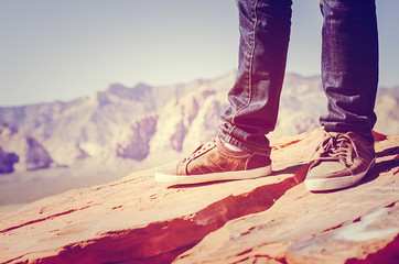 Man shoes canvas outdoor travel hiking red rock canyon Nevada