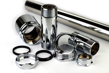 Chrome pipe and accessories Wall mural