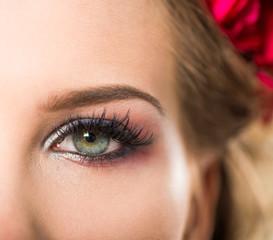 open woman eye closeup