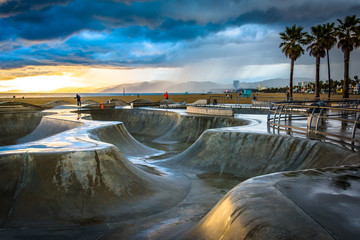 The Venice Skate Park at sunset, in Venice Beach, Los Angeles, C