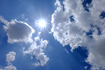 blue sky and beautiful cloud with sun light