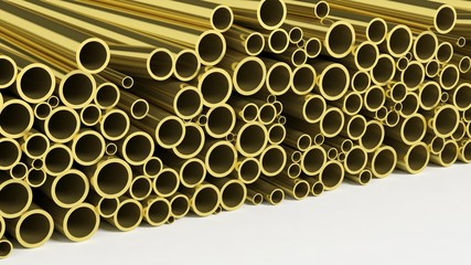 Metal brass pipe stacks isolated on white background