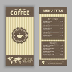 Design a menu for coffee