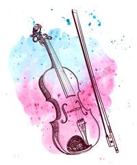 watercolor hand drawn violin with splash. vector