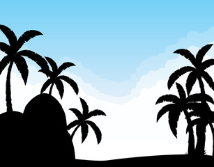 Silhouette coconut trees