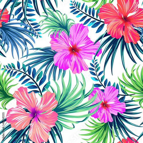 Seamless Tropical Floral Pattern Hibiscus And Palm Leaves On White Background Classical Aloha Motifs