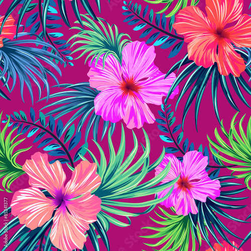 Vector Seamless Tropical Pattern Hibiscus And Palm Leaves In Enchanting Hawaiian Pattern
