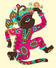line art drawing of ethnic monkey in decorative ukrainian style