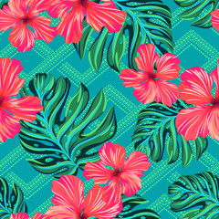 vector seamless pattern with flowers and geometric tribal shapes. hibiscus and monstera tropical leaves on ornamental background. vibrant fashionable design