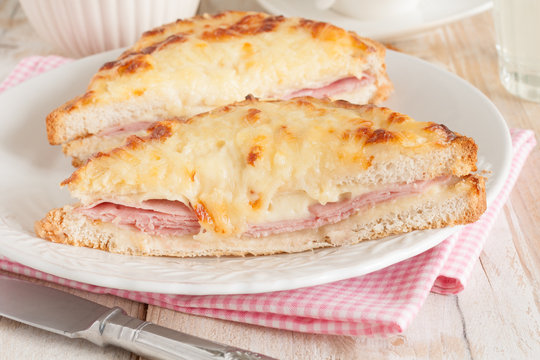 Croque Monsieur a French toasted cheese and ham sandwich
