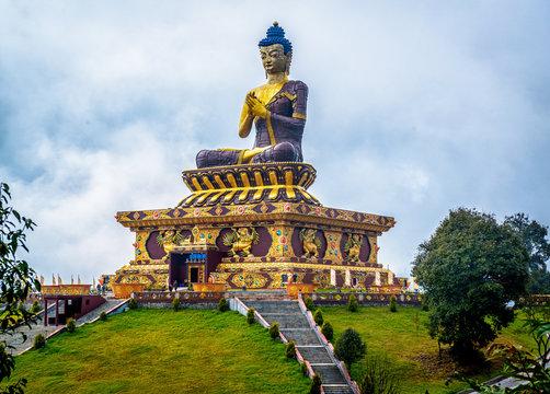 giant Buddha statue at Ravangla, Sikkim, India.