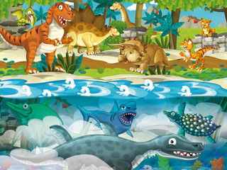 Cartoon dinosaur land and sea - illustration