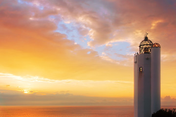 Gorliz lighthouse at sunset