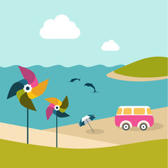 Summer beach with dolphins, van, umbrella and color pinwheels.