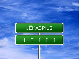 Jekabpils City Latvia Sign