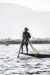 legrowing fisherman at Inle lake