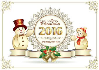 New Year 2016 poster with snowmen