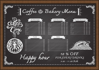 Hand drawn cafe menu con chalkboard design template.