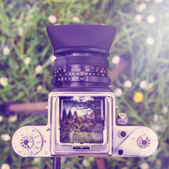 Outdoor gardening tools and flowers through the old camera  with instagram effect retro vintage filter