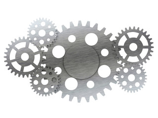 Metal gears and cogwheels isolated on white background