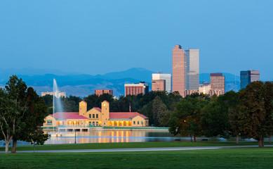 Skyline of Denver at dawn
