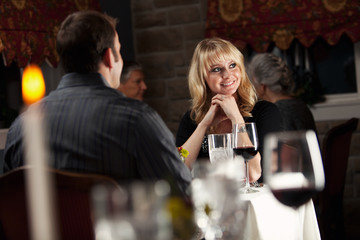 Restaurant: Couple On Romantic Date At Fancy Restaurant