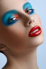 Blue red lips Women Makeup Beauty smile braces