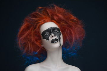 Makeup mask red hair girl