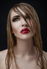 Red lips wet hair Women Makeup Beauty