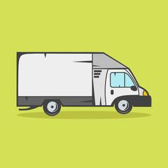 Small truck for transportation cargo vector illustration on green background