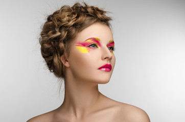 red yellow Makeup Beauty Girl