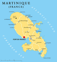 Martinique political map with capital Fort-de-France and important places. Overseas region of France in the Lesser Antilles region of the Caribbean Sea. English labeling and scaling. Illustration.