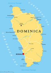 Dominica political map with capital Roseau and important places. Island country in the Lesser Antilles region of the Caribbean Sea. English labeling and scaling. Illustration.