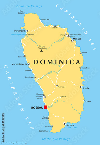 Dominica political map with capital Roseau and important places