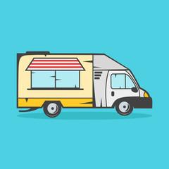 Food truck vector illustration on blue background