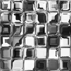 Black and white mosaic glass window