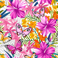 Seamless exotic pattern with tropical leaves, flowers and butterflies. Blooming jungle. Vector illustration.
