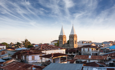 Foto op Plexiglas Zanzibar stonetown zanzibar roof-top view over city