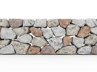 Stone wall rendered on white
