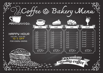 Hand drawn coffee menu on chalkboard.